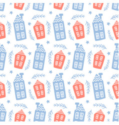 scandinavian houses nordic seamless pattern vector image