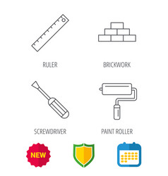 Screwdriver ruler and paint roller icons vector
