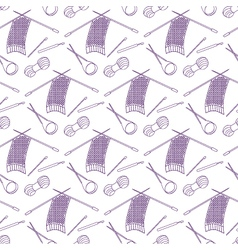 Seamless pattern of knitting and crafts icons on vector