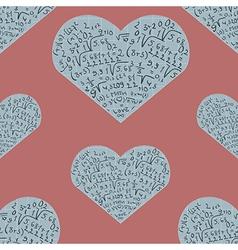 Seamless pattern with mathematics formula on heart vector image