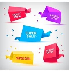 set colorful sale banners bubbles 3d vector image
