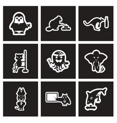Set of black and white icons animals profession vector