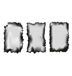 set of scorched papers on a transparent background vector image