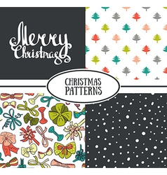 Set of seamless patterns with stylish Christmas vector image