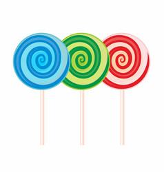 Set of sweet candis on sticks lollipops vector