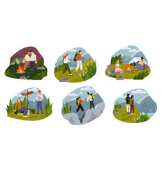 set with cute romantic couple camping together vector image