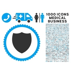 Shield Icon with 1000 Medical Business Pictograms vector image