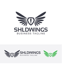 shield wings logo design vector image