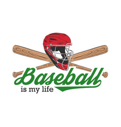 sketch baseball helmet and bat with typography vector image