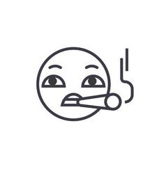 smoking emoji concept line editable vector image