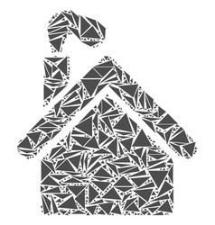 Smoking garage factory collage of triangles vector