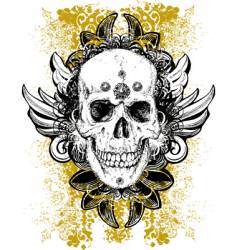 stained skull grunge vector image