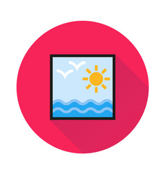 sun and sea icon on round background vector image