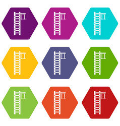 swedish ladder icon set color hexahedron vector image