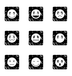 Types of emoticons icons set grunge style vector