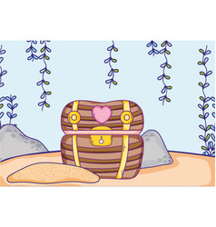 undersea treasure chest vector image
