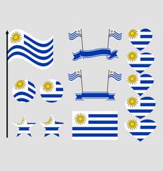 Uruguay flag set symbols flag in heart vector