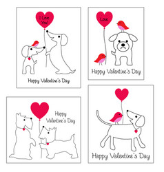 Valentines day graphics with cute dogs vector