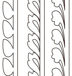 Vintage decorative set outline black floral vector image