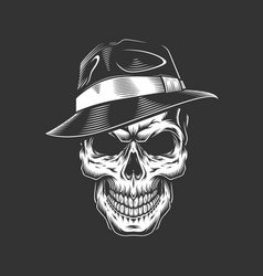 Vintage monochrome gangster skull in hat vector