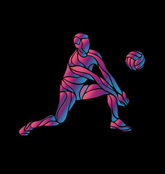 volleyball player neon silhouette digger position vector image