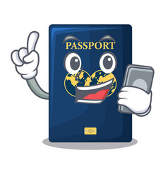 With phone blue passport in the cartoon form vector