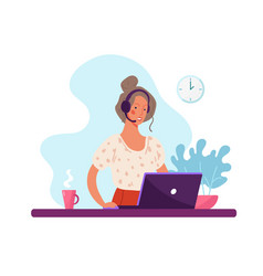 Woman with microphone and headphones and computer vector