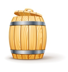 wooden barrel with lid vector image