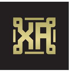 Xa logo monogram with piece line art design vector