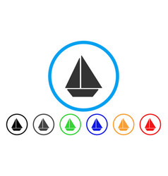 yacht rounded icon vector image