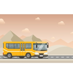 Yellow bus goes on the highway in the desert vector image