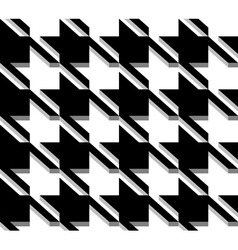 3d houndstooth weave black and white seamless vector