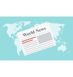 Flat newspaper on the world map vector image vector image