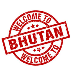 welcome to bhutan red stamp vector image vector image