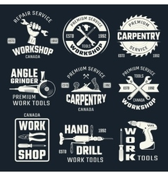 Work Tools Monochrome Emblems vector image vector image