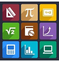Mathematics flat icons set 52 vector