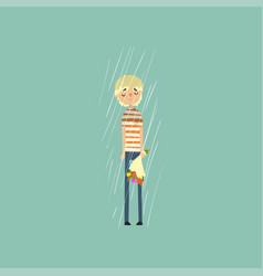 Sad young man freezing over autumn rain with vector