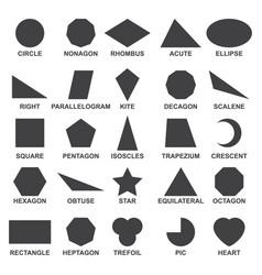 set of basic geometric shapes black image of vector image