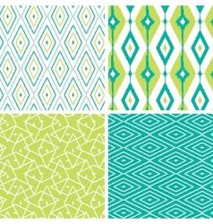 Set of green ikat diamond seamless patterns vector
