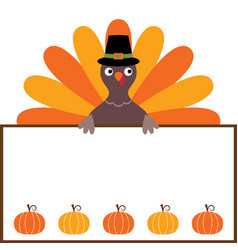 thanksgiving card with a turkey and a blank space vector image vector image