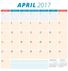 April 2017 Calendar Planner for 2017 Year Week vector image vector image