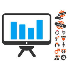 bar chart monitoring board icon with valentine vector image