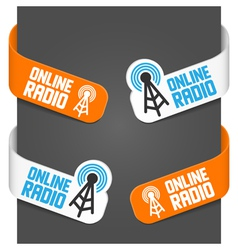 left and right side signs - online radio vector image vector image