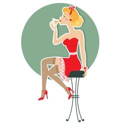 martini girl vector image