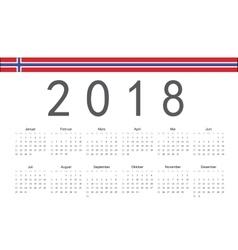 Norwegian 2018 year calendar vector image vector image