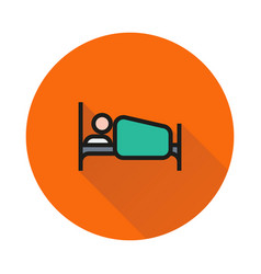 person in bed icon on round background vector image