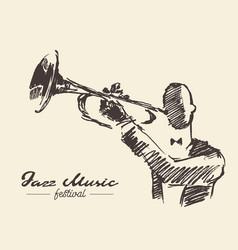 set man playing trumpet vintage hand drawn sketch vector image vector image
