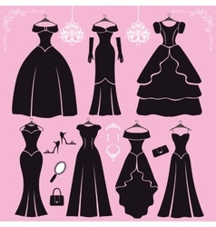 Silhouette of black party dressesaccessories vector image