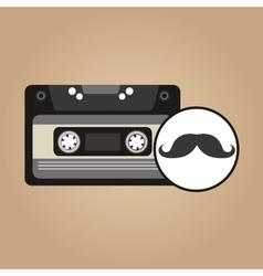 cassette vintage mustache style hipster vector image