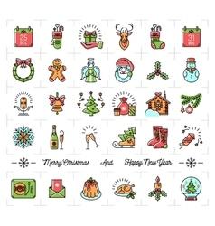 Christmas icons set New Year symbols Winter vector image